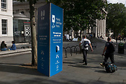 With a further 89 UK covid victims in the last 24hrs, bringing the total victims to 43,995 during the Coronavirus pandemic, pubs, restaurants, hairdressers and some art galleries will open again on Saturday 4th July. A hand sanitiser station is located at the northern side of Trafalgar Square, on 2nd July 2020, in London, England.