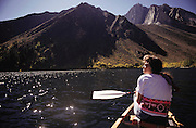 Canoeing on Convict Lake. Route 395: Eastern Sierra Nevada Mountains of California. MODEL RELEASED.