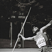 Slug: MASTERS<br /> Assignment ID: 30177851A<br /> Desk: SPT<br /> Date: 8/6/2015<br /> <br /> Decathlete Maximiliano Wong Moran, 82, of Mexico competes in the javelin, the fourth event on the second day of the men's combined events, or decathlon, on August 6, 2015 at the Balmont Duchére stadium in Lyon, France during the 2015 World Masters Athletics Championships. <br /> <br /> The Championships, which include track & field events (as well as race walking, marathon, cross country, half marathon and combined events) contested by athletes of 35 ages and over divided into 5-year age divisions, are being held at multiple locations in Lyon, France from August 4 through 16, 2015. <br /> <br /> The second day of the decathlon competition includes the 80 meter hurdles, discus, pole vault, javelin and the 1500 meters. Combined events are scored using an international point table, and masters scores are age-graded so they are comparable across age ranges. <br /> <br /> <br /> photo by Angela Jimenez for The New York Times<br /> photographer contact 917-586-0916