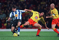 Michele Di Piedi (Sheffield Wednesday) Steve Palmer (Watford) Watford v Sheffield Wednesday, 7/11/2000. Credit: Colorsport / Matthew Impey