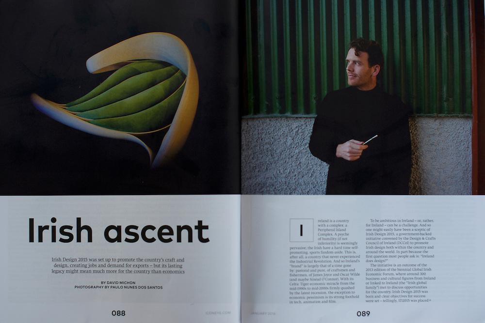 "Tearsheet of ""Irish Ascent"" published in Icon Magazine"