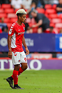 Charlton Athletic forward Lyle Taylor (9) during the EFL Sky Bet League 1 match between Charlton Athletic and Shrewsbury Town at The Valley, London, England on 11 August 2018.