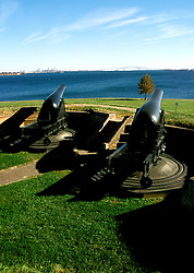Maryland: Baltimore.  Historic Fort McHenry, with Cannon.  Photo #: mdbalt103..Photo copyright Lee Foster, www.fostertravel.com, 510/549-2202, lee@fostertravel.com