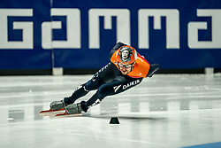 / in action on 500 meter during ISU World Short Track speed skating Championships on March 05, 2021 in Dordrecht