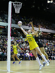 Australian Diamonds' Caitlin Thwaites (left) New Zealand Silver Ferns Jane Watson battle for the ball during the Vitality Netball International Series match at The Copper Box, London. PRESS ASSOCIATION Photo. Picture date: Saturday January 19, 2019. See PA story NETBALL Australia. Photo credit should read: Nigel French/PA Wire