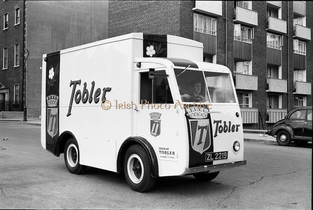 """20/07/1962<br /> 07/20/1962<br /> 20 July 1962<br /> Williams and Woods """"Tobler"""" NCB electric van at Williams and Woods, King's Inns Street, Dublin. Tobler chocolate produced the Toblerone chocolates."""