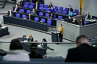 11 FEB 2021, BERLIN/GERMANY:<br /> Angela Merkel, CDU, Budneskanzlerin, waehrend ihrer  Regierungserklaerung zur Bewaeltigung der Corvid-19-Pandemie, links: Regierungsbank, Plenum, Reichstagsgebaeude, Deutscher Bundestag<br /> IMAGE: 20210211-01-037<br /> KEYWORDS: Corona, Rede