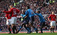 Shaun Goater celebrates after scoring Manchester City's goal. Manchester United v Manchester City, FA Premiership, 8/02/2003. Credit: Matthew Impey, Digitalsport