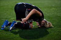 Olympique Lyonnais´s Bremer gets injured during UEFA Women´s Champions League soccer match between Atletico de Madrid and Olympique Lyonnais, in Madrid, Spain. November 11, 2015. (ALTERPHOTOS/Victor Blanco)