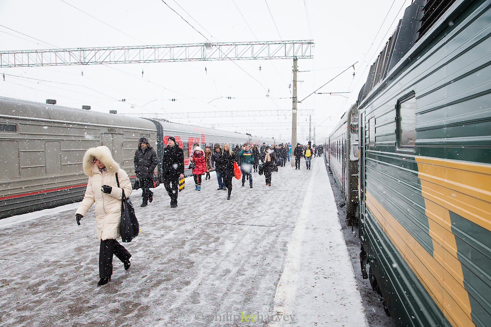 Passengers on platform at Moscow train station. Russia