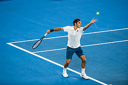 January 18, 2019 - Melbourne, VIC, U.S. - MELBOURNE, AUSTRALIA - JANUARY 18 : Roger Federer of ÊSwitzerland serves the ball during day 5 of the Australian Open on January 18 2019, at Melbourne Park in Melbourne, Australia.(Photo by Jason Heidrich/Icon Sportswire) (Credit Image: © Jason Heidrich/Icon SMI via ZUMA Press)
