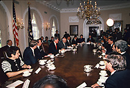 President William Jefferson Clinton at first cabinet meeting in January 1993.  <br /> <br /> Photograph by Dennis Brack