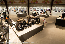 Shinya Kimura's BMW / R18 factory sponsored custom in the More Mettle - Motorcycles and Art That Never Quit exhibition in the Buffalo Chip Events Center Gallery during the Sturgis Motorcycle Rally. It is Shinyas 30th anniversary of building custom bikes under the Chabott Engineering name. SD, USA. Monday, August 9, 2021. Photography ©2021 Michael Lichter.