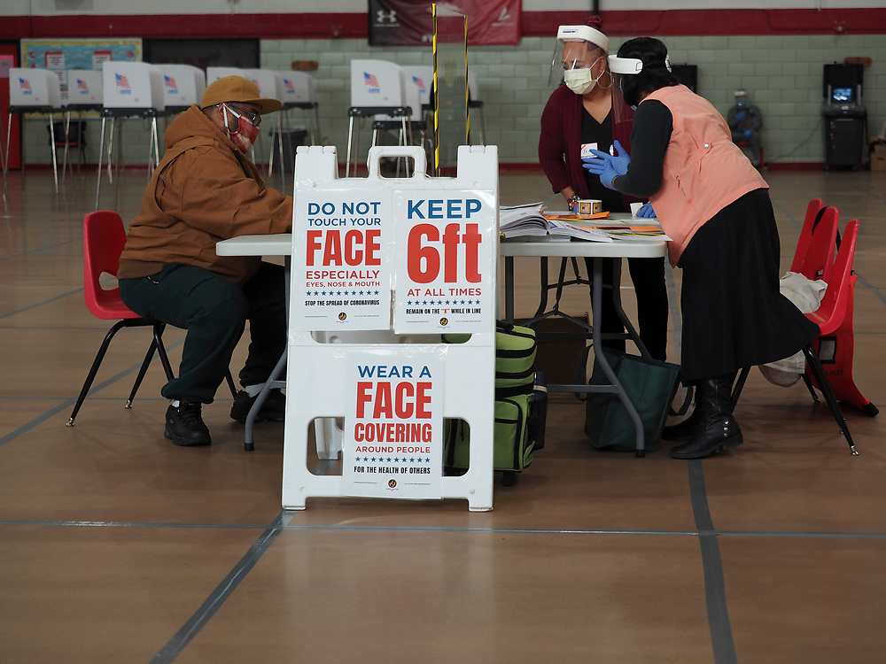 Poll workers wearing protective gear to guard against the spread of COVID-19 assist a voter at a voting center in Baltimore. On April 28, 2020 a special election was held to fill the remainder of the term in the US House of Representatives for Maryland's 7th congressional district in the 116th U.S. Congress. Elijah Cummings, the incumbent representative, died in office on October 17, 2019.
