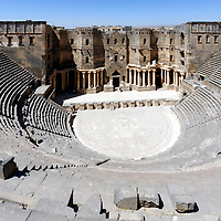 Bosra. Syria. Overview of the 2nd century AD Roman theatre which is one of the largest and best preserved Roman theatres in the Mediterranean.