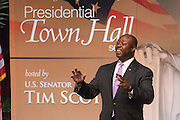 U.S. Senator Tim Scott during Tim's Presidential Town Hall meeting at the Performing Arts Center August 7, 2015 in North Charleston, SC. The event showcases republican candidates in a town hall style meetings hosted by Scott and Rep. Trey Gowdy.