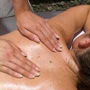 Woman receiving massage. Cancun, Quintana Roo. Mexico.