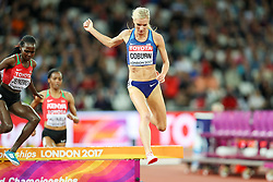 London, August 11 2017 . Emma Coburn, USA, goes for gold in the women's 3000m steeplechase final on day eight of the IAAF London 2017 world Championships at the London Stadium. © Paul Davey.