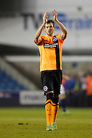 Brighton & Hove Albion's Gordon Greer applauds the away fans at the end<br /> <br /> Photographer Craig Mercer/CameraSport<br /> <br /> Football - The Football League Sky Bet Championship - Millwall v Brighton and Hove Albion - Tuesday 17th March 2015 - The Den - London<br /> <br /> © CameraSport - 43 Linden Ave. Countesthorpe. Leicester. England. LE8 5PG - Tel: +44 (0) 116 277 4147 - admin@camerasport.com - www.camerasport.com