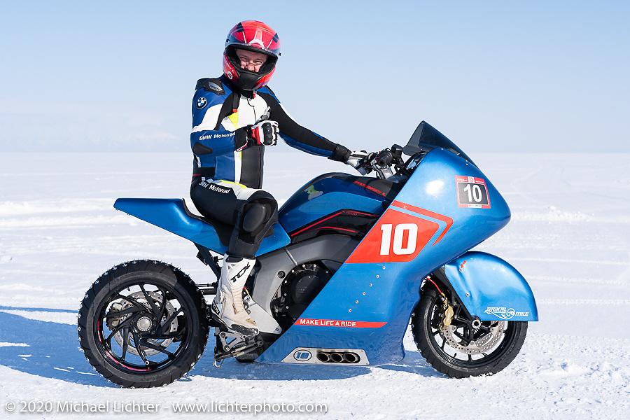 Evgeniy Pyatigorskiy on the 2019 BMW K1600GT racer at the Baikal Mile Ice Speed Festival. Maksimiha, Siberia, Russia. Friday, February 28, 2020. Photography ©2020 Michael Lichter.