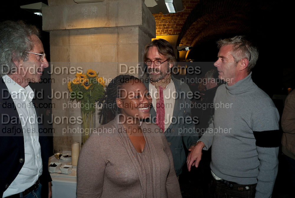 Eric Abraham; Pauline Malefane; Jeremy Irons; Stephen Daldry;  , The opening night of The Mysteries Ð Yiimimangaliso at the Garrick Theatre. Aftershow party in The Crypt, St Martin-in-the-Fields, Trafalgar Square, London. 15 September 2009.<br /> Eric Abraham; Pauline Malefane; Jeremy Irons; Stephen Daldry;  , The opening night of The Mysteries ? Yiimimangaliso at the Garrick Theatre. Aftershow party in The Crypt, St Martin-in-the-Fields, Trafalgar Square, London. 15 September 2009.