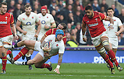 Twickenham. Great Britain.<br /> Jack NOWELL tackled by Jamie ROBERTS and Taulupe FALETAU, moving in, during the RBS Six Nations Rugby, England vs Wales at the RFU Twickenham Stadium. England.<br /> <br /> Saturday  12/03/2016 <br /> <br /> [Mandatory Credit; Peter Spurrier/Intersport-images]