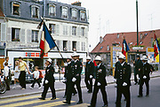 Bastille day street procession parade of firemen, Chantilly,  France, 14th July 1973