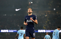 Tottenham Hotspur's Harry Kane rues a missed chance during the Premier League match at the Etihad Stadium, Manchester.