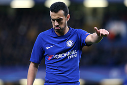 5 December 2017 - Champions League Football - Chelsea v Atletico Madrid - Pedro of Chelsea gives a thumbs up to the linesman - Photo: Charlotte Wilson / Offside