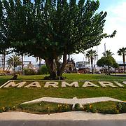Marmaris sign on the grass, Turkey