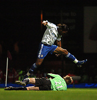 Photo: Tony Oudot.<br /> West Ham United v Chelsea. The Barclays Premiership. 18/04/2007.<br /> Didier Drogba of Chelsea scores the fourth goal past Robert Green of West Ham