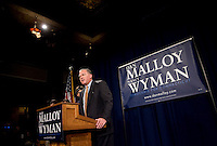 HARTFORD, CT - 02 NOVEMBER 2010 -.George Jepsen speaks at the Society Room in Hartford after winning the race for Attorney General on Tuesday night. Behind him are his son William, wife Diana and other son Christian. .Photo by Josalee Thrift