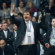 Besiktas's coach Ergin Ataman during their Turkish Basketball league derby match Besiktas between Anadolu Efes at the BJK Akatlar Arena in Istanbul Turkey on Saturday 31 December 2011. Photo by TURKPIX