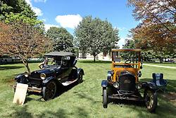 06 August 2016:  on left: 1922 Dodge Roadster<br /> Owner: Gus<br /> <br /> on right:1923 Ford Model T Depot Hack<br /> Owner: Craig Baner<br /> <br /> Displayed at the McLean County Antique Automobile Association Car show at David Davis Mansion in Bloomington Illinois