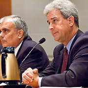 "John S. White (left), former Facility Manager, Air Traffic Control Systems Command Center, FAA; Benedict Sliney (right), Operations Manager, New York Terminal Radar Approach Control, FAA. Panel: FAA Response on 9/11. The 9/11 Commission's 12th public hearing on ""The 9/11 Plot"" and ""National Crisis Management"" was held June 16-17, 2004, in Washington, DC."