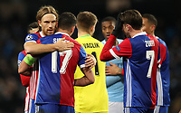 Football - 2017 / 2018 UEFA Champions League - Round of Sixteen, Second Leg: Manchester City (4) vs. FC Basel (0)<br /> <br /> Michael Lang and Marek Suchy of FC Basel celebrate at The Etihad.<br /> <br /> COLORSPORT