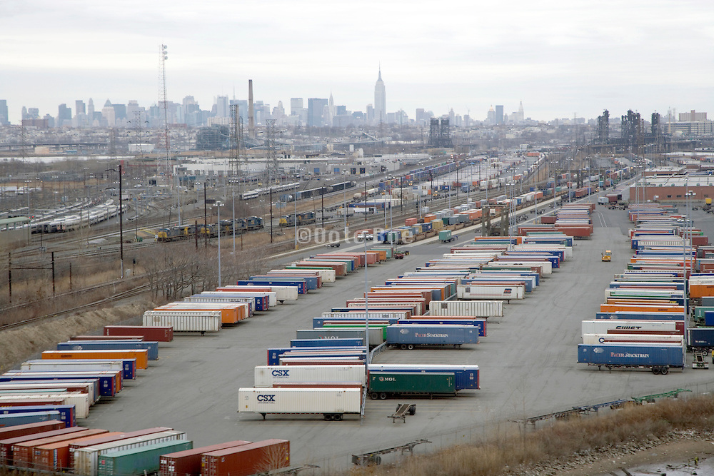 container parking lot in New Jersey with New York City in the background