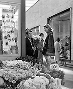 Flower stand, Union Square, San Francisco with I. Magnin in background, 1958, Anne Murray Lyon