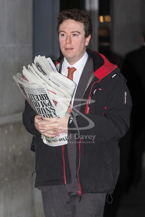 London, January 28 2018. Times' deputy political editor Sam Coates attends the Andrew Marr Show at the BBC's New Broadcasting House in London.. © Paul Davey