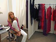 Jemima Khan. . Designer ehibition. South Kensington during London fashion week. © Copyright Photograph by Dafydd Jones 66 Stockwell Park Rd. London SW9 0DA Tel 020 7733 0108 www.dafjones.com
