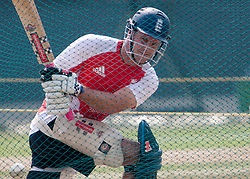 ©London News Pictures. 25/03/2011.England captain Andrew Strauss batting in the nets ahead of  ICC cricket World cup in Sri Lanka. Photo credit should read Asanka Brendon Ratnayake/London News Pictures