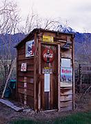 Creatively decorated outhouse, Mackay, Idaho.
