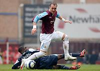 Photo: Daniel Hambury.<br />West Ham United v Manchester City. The Barclays Premiership. 15/04/2006.<br />West Ham's Dean Ashton gets away from City's Micah Richards.