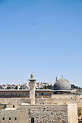 Israel, Jerusalem, Haram esh Sharif (Temple Mount) View of the southwestern corner. The minaret and dome of the Al-Aqsa Mosque