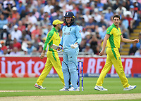 Cricket - 2019 ICC Cricket World Cup - Semi-Final: England vs. Australia<br /> <br /> England's Jason Roy asks for a review as Umpire Dharmasena gives him out for 85, caught by Australia's Alex Carey off the bowling of Pat Cummins, at Edgbaston, Birmingham.<br /> <br /> COLORSPORT/ASHLEY WESTERN