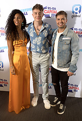 Vick Hope, Roman Kemp and Sonny Jay (left to right) on the red carpet of the the media run during Capital's Summertime Ball. The world's biggest stars perform live for 80,000 Capital listeners at Wembley Stadium at the UK's biggest summer party.