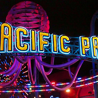 USA, California, Los Angeles. Pacific Park on Santa Monica Pier, by night.