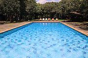 Swimming pool view to Rock Palace at Hotel Sigiriya, Sigiriya, Central Province, Sri Lanka, Asia