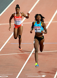 Bahamas' Shaunae Miller-Uibo (right) during the Women's 200m Semi-Final heats during day seven of the 2017 IAAF World Championships at the London Stadium.