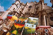 CUBA, HAVANA (HABANA VIEJA) arts and crafts market in the Plaza before La Catedral de San Cristobal de la Habana, built in 1787